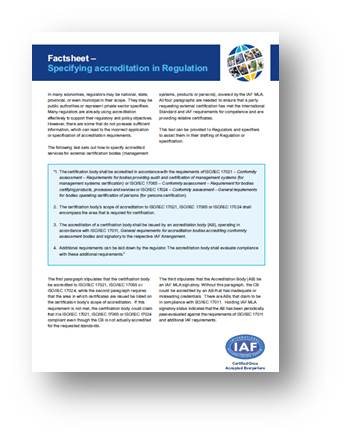 Specifying accreditation in regulation