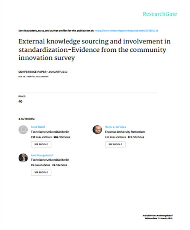 External knowledge sourcing and involvement in standardization-Evidence from the community innovation survey