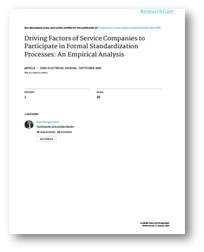 Driving Factors of Service Companies to Participate in Formal Standardization Processes: An Empirical Analysis