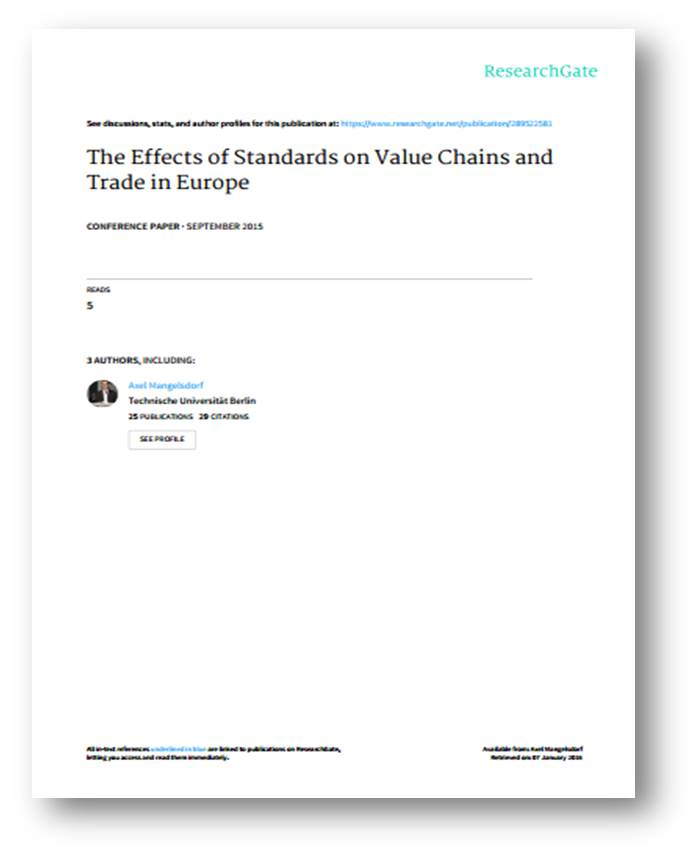 The Effects of Standards on Value Chains and Trade in Europe (September 2015)