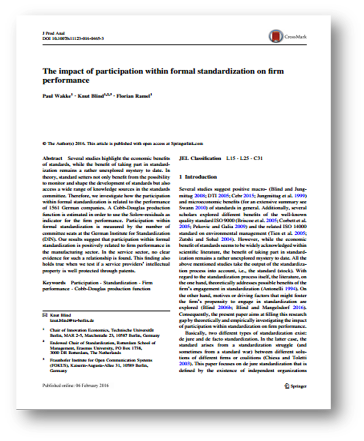 The impact of participation within formal standardization on firm performance