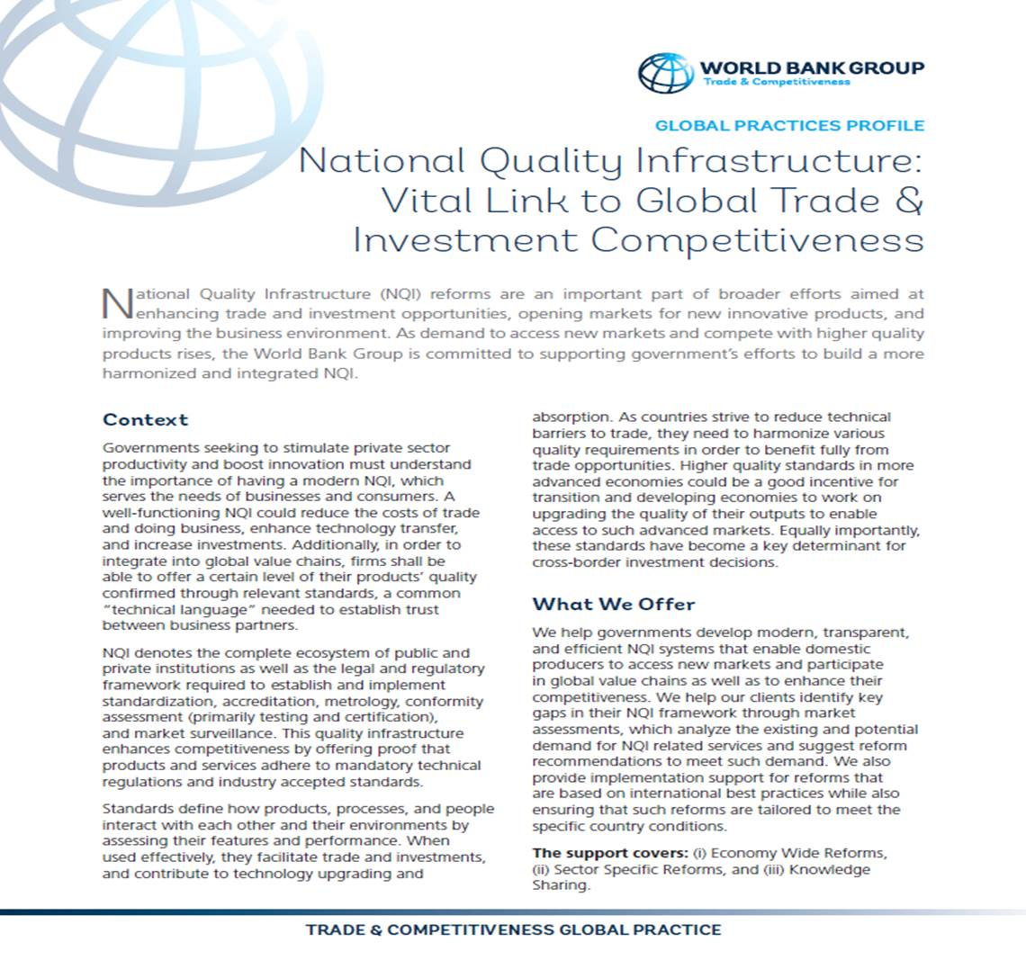 National Quality Infrastructure: Vital Link to Global Trade and Investment Competitiveness (World Bank, 2016)