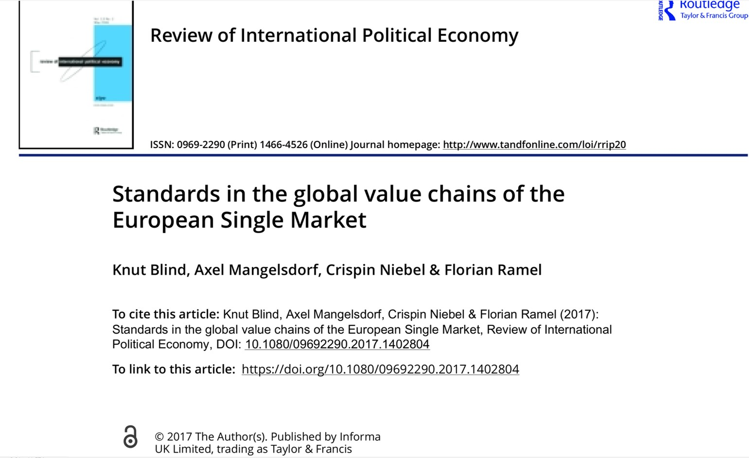 Standards have a positive impact on trade and value chains (November 2017)