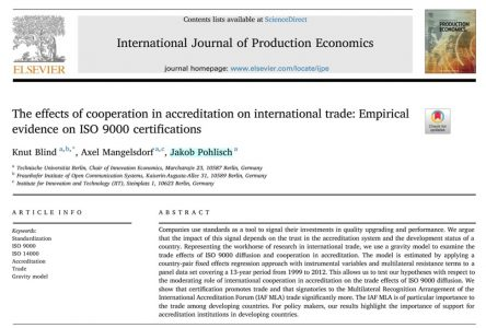 The effects of cooperation in accreditation on international trade: Empirical evidence on ISO 9000 certifications (January 2018)